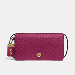 Coach Bright Cherry Red Leather Dinky Handbag Gold